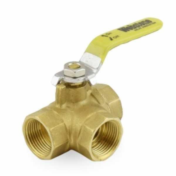 "3/4"" Threaded 3-Way Brass Ball Valve, Full Port"