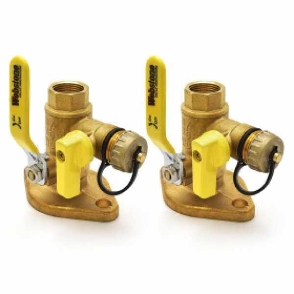 "3/4"" IPS Isolator Flange Valves with Drain (pair)"
