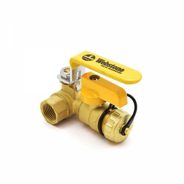 Webstone Valves 40612W 1/2 inch Brass Ball Valve w/ Hose Drain, NPT Threaded, Full Port (Lead-Free)