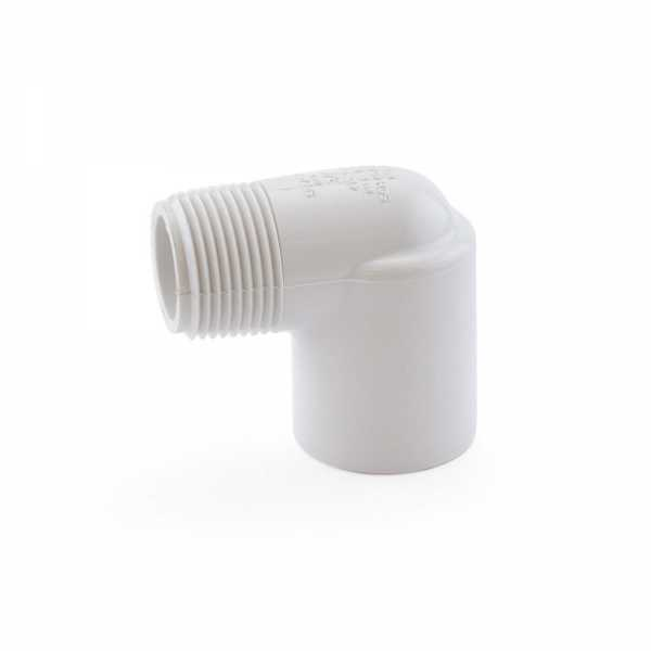 "3/4"" PVC (Sch. 40) Socket x MIP 90° Elbow"