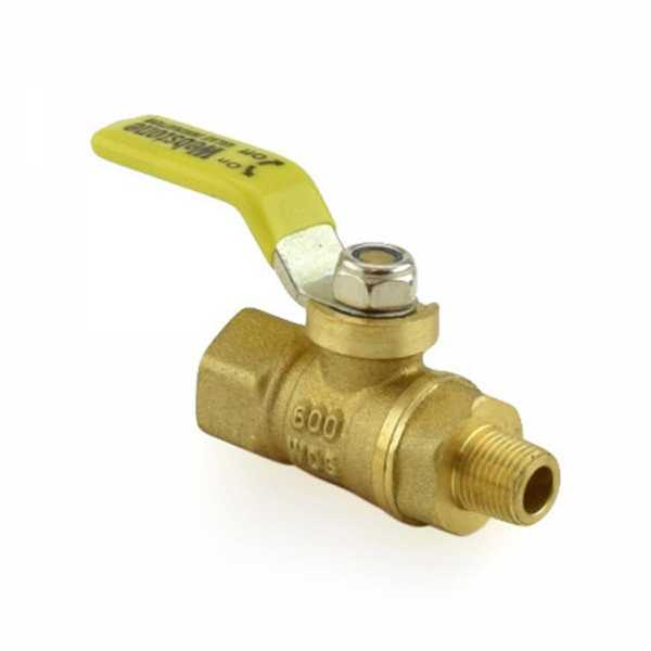 "1/4"" FIP x 1/8"" MIP Threaded Brass Ball Valve, Full Port"
