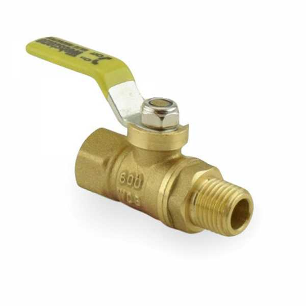 "1/4"" FIP x MIP Threaded Brass Ball Valve, Full Port"