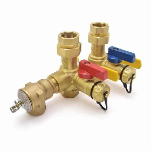 "Lead-Free 3/4"" NPT Tankless Water Heater Service Valve Kit w/ Pressure Relief Valve"