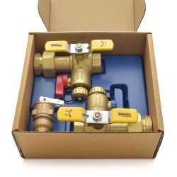 "1"" NPT Tankless Water Heater Service Valve Kit w/ Pressure Relief Valve, LF"