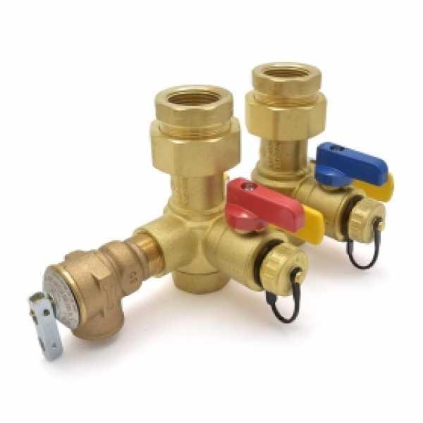 "Lead-Free 1"" NPT Tankless Water Heater Service Valve Kit w/ Pressure Relief Valve"