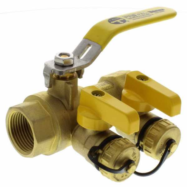 "Webstone 48614 1"" IPS Purge & Fill Full Port Forged Brass Ball Valve"