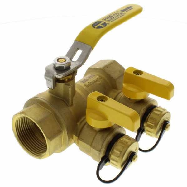 "Webstone 48615  1-1/4"" IPS Purge & Fill Full Port Forged Brass Ball Valve"