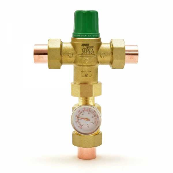 "3/4"" Union Sweat Mixing Valve w/ Temperature Gauge (Lead-Free), 85-175F"