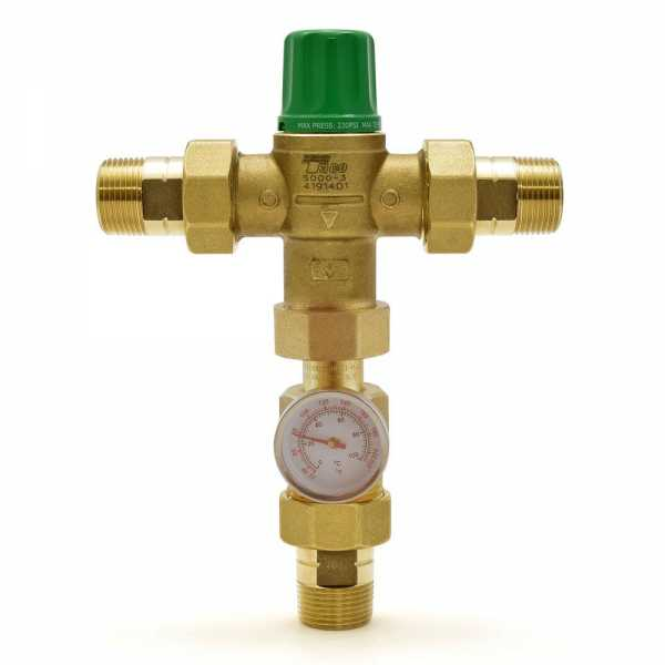 "3/4"" Union Threaded Mixing Valve w/ Temperature Gauge (Lead-Free), 85-175F"