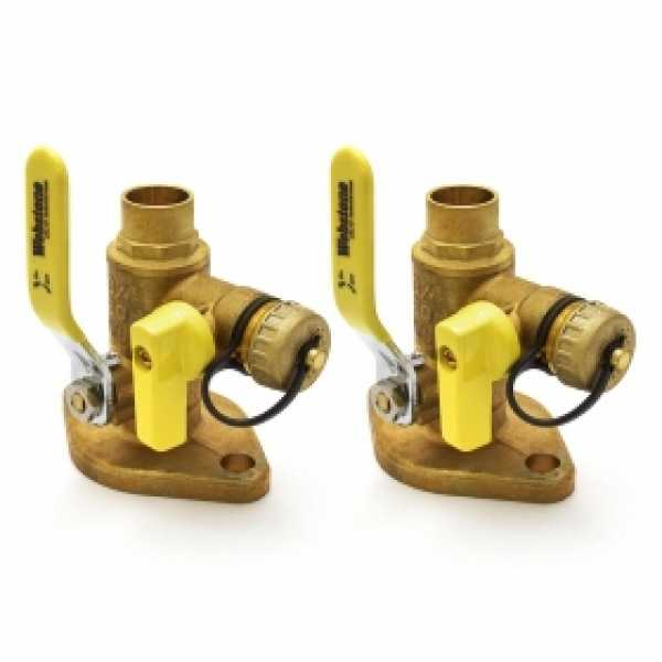 "3/4"" Sweat Isolator Flange Valves with Drain (pair)"
