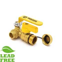 "1/2"" Sweat (Solder) Brass Ball Valve w/ Hose Drain, Full Port (Lead-Free)"