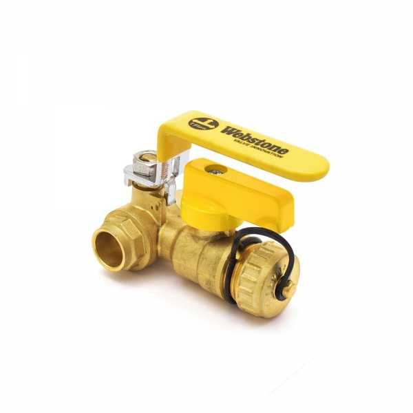 1/2 inch Brass Ball Valve w/ Hose Drain, Sweat (Solder), Full Port (Lead-Free)