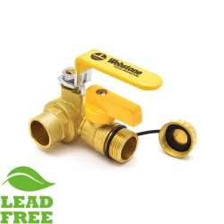 "3/4"" Sweat (Solder) Brass Ball Valve w/ Hose Drain, Full Port"