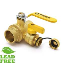 "1-1/4"" Sweat (Solder) Brass Ball Valve w/ Hose Drain, Full Port (Lead-Free)"