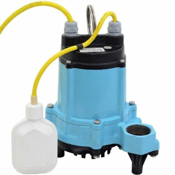 Automatic High Temperature Sump/Effluent Pump w/ Wide Angle Float Switch, 1/3HP, 15' cord, 115V