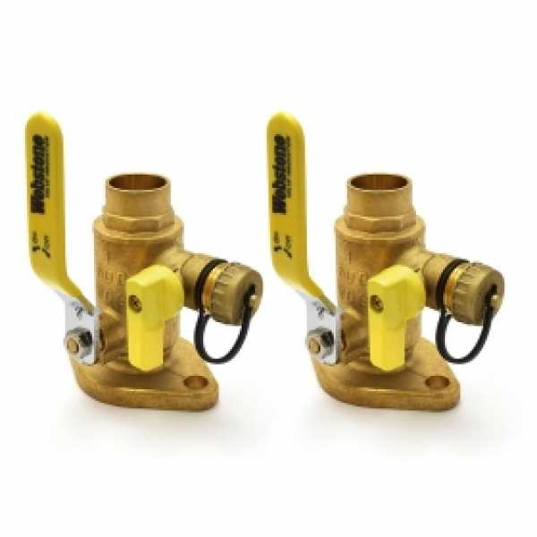 "1"" Sweat Isolator Flange Valves with Drain (pair)"