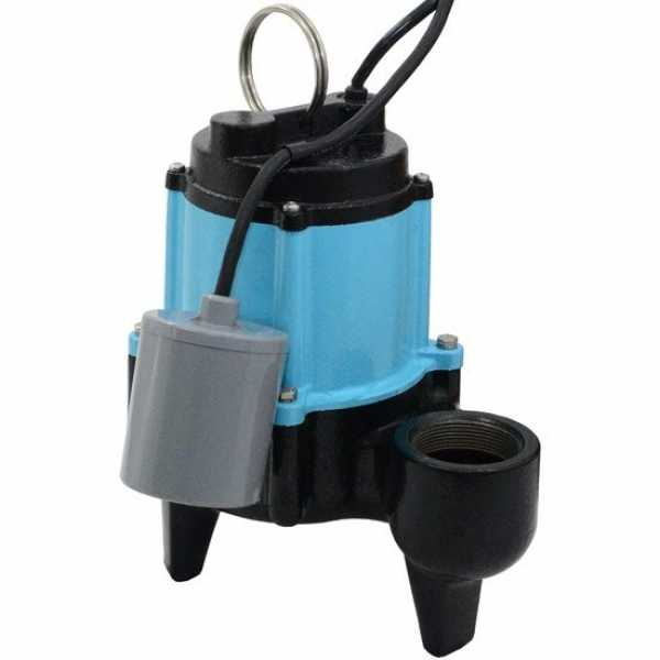 Automatic Sewage Pump w/ Piggyback Wide Angle Float Switch, 1/2HP, 20' cord, 115V