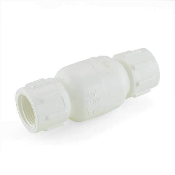 "3/4"" PVC Spring Check Valve, FPT Threaded, Sch. 40/80"