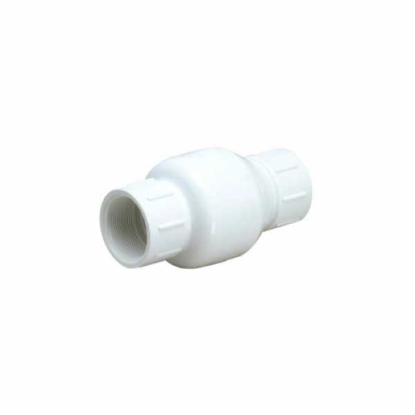 "Matco-Norca 523S07 1-1/2"" PVC In-Line Check Valve w/ SS Spring (Solvent)"