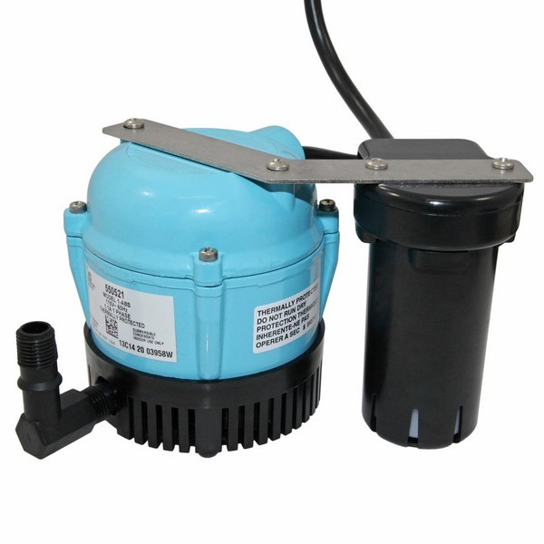 """Little Giant 550521 1/150 Hp Shallow Pan Float Switch Condensate Removal Pump, 9"""" Cord, 110v ~ 120v"""