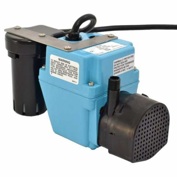 """Little Giant 551020 1/40 Hp Shallow Pan Float Switch Condensate Removal Pump, 9"""" Cord, 110v ~ 120v"""