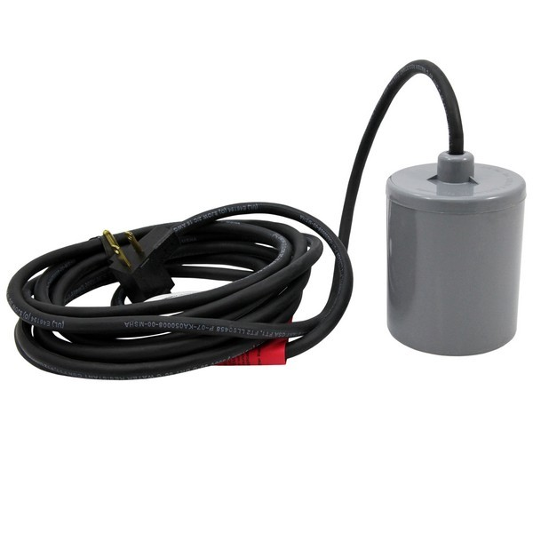 Piggyback Wide Angle Float Switch w/ 10ft cord, 13A max, 115/230V