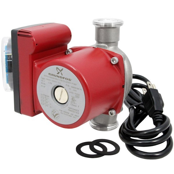 "Grundfos 59896780 3-Speed Stainless Steel Circulator Pump w/ IFC, 1-1/4"" Union, 1/8HP, 115V, Timer & Line Cord"