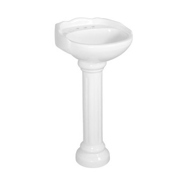 """Fine Fixtures VI2622W8 26 x 22 Victorian Style Pedestal Lavatory 8""""""""cc"""
