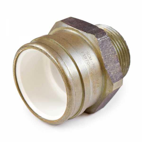 "1-1/4"" PVC x 1-1/4"" MIP (Male Threaded) Brass Adapter, Lead-Free"