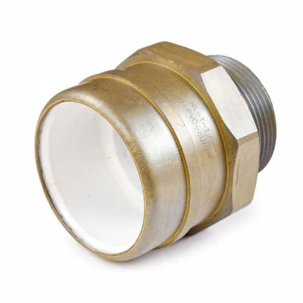 "1-1/2"" PVC x 1-1/2"" MIP (Male Threaded) Brass Adapter, Lead-Free"