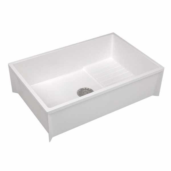 "24"" x 36"" x 10"" Floor Mop Sink/Basin w/ Elevated Shelf, DuraStone Fiberglass, Flock White"
