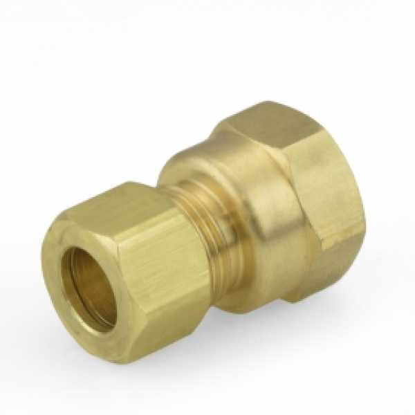"""3/8"""" OD x 3/8"""" FIP Threaded Compression Adapter, Lead-Free"""