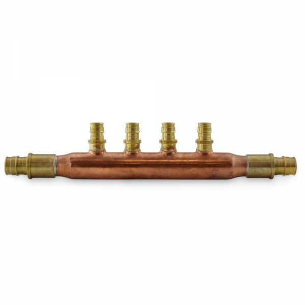 """4-branch 1/2"""" PEX-A Copper Manifold, 3/4"""" PEX x Open, LF"""