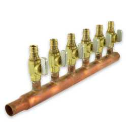 "6-branch 1/2"" PEX-A Copper Manifold w/ Valves, 3/4"" M. Sweat x Closed, LF"