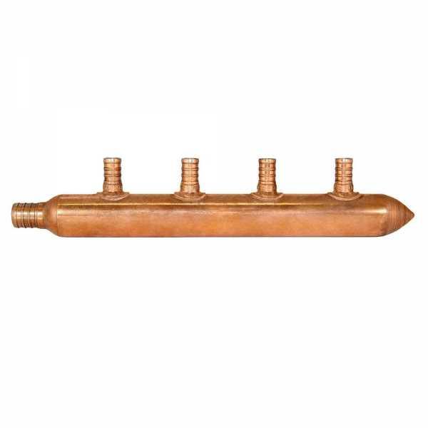 """4-Branch Copper Manifold w/ 1/2"""" PEX branches, 3/4"""" PEX x Closed"""