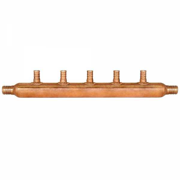 """5-Branch Copper Manifold w/ 1/2"""" PEX branches, 3/4"""" PEX x Open"""