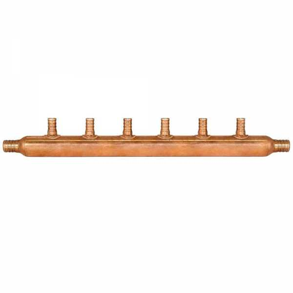 "6-Branch Copper Manifold w/ 1/2"" PEX branches, 3/4"" PEX x Open"