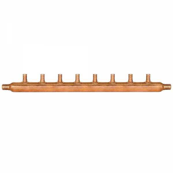 """8-Branch Copper Manifold w/ 1/2"""" PEX branches, 3/4"""" PEX x Open"""