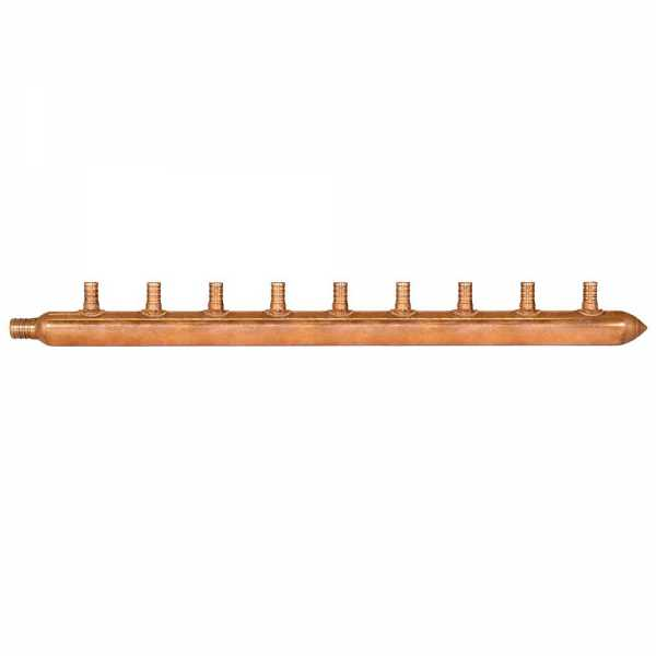 """9-Branch Copper Manifold w/ 1/2"""" PEX branches, 3/4"""" PEX x Closed"""