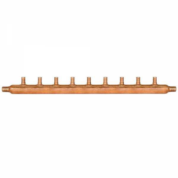 """9-Branch Copper Manifold w/ 1/2"""" PEX branches, 3/4"""" PEX x Open"""