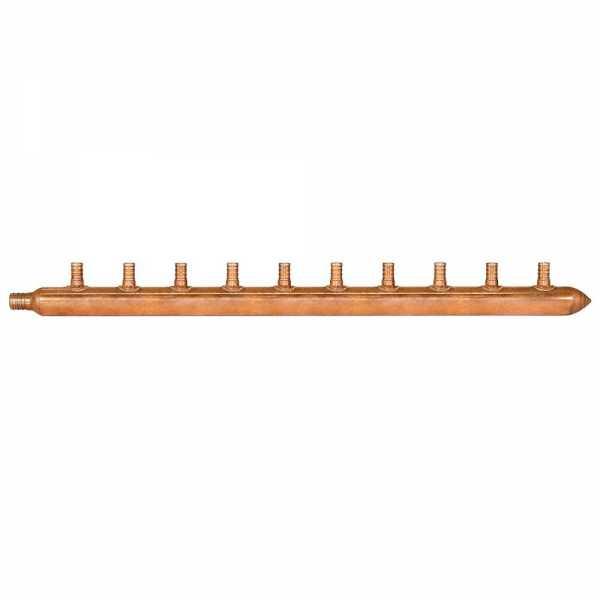 """10-Branch Copper Manifold w/ 1/2"""" PEX branches, 3/4"""" PEX x Closed"""