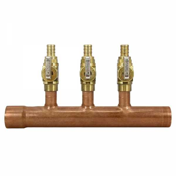 "3-Branch Copper Manifold w/ 1/2"" PEX Valves, 1"" F x M Sweat"