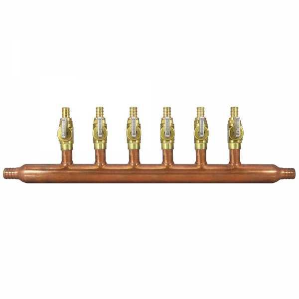 "6-Branch Copper Manifold w/ 1/2"" PEX Valves, 3/4"" PEX x Open"