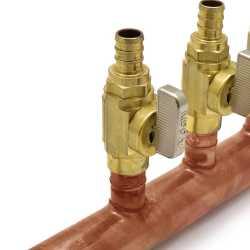 "10-Branch Copper Manifold w/ 1/2"" PEX Valves, 1"" Sweat x Closed, Right-Hand"