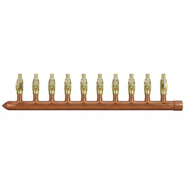 "10-Branch Copper Manifold w/ 1/2"" PEX Valves, 1"" Sweat x Closed, Left-Hand"