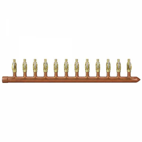 "12-Branch Copper Manifold w/ 1/2"" PEX Valves, 1"" Sweat x Closed, Right-Hand"