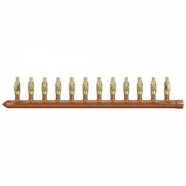 "12-Branch Copper Manifold w/ 1/2"" PEX Valves, 1"" Sweat x Closed, Left-Hand"