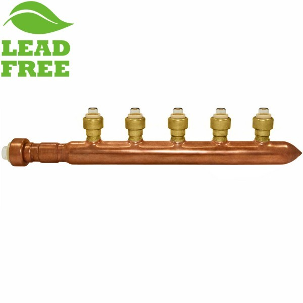 """Sioux Chief 672Q0590 5-Branch Manifold, 3/4 x 1/2"""" Push-To-Connect x Closed"""