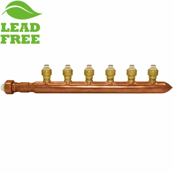 "6-Branch Copper Manifold w/ 1/2"" Push-to-Connect branches, 3/4"" x Closed"