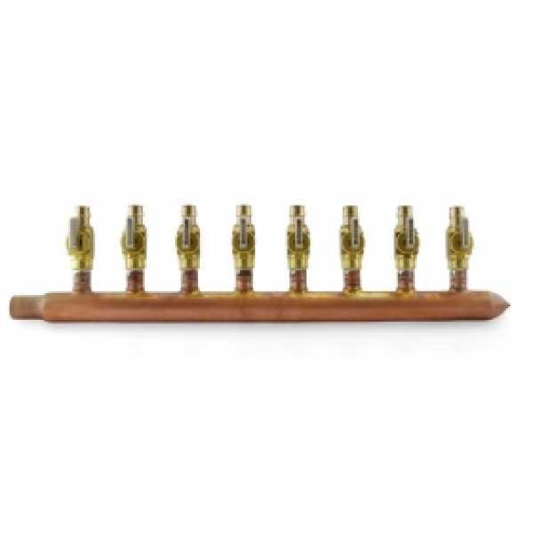 """8-branch Copper Manifold w/ 1/2"""" PEX-A (F1960) Valves, 3/4"""" Male Sweat x Closed, Right-hand, LF"""
